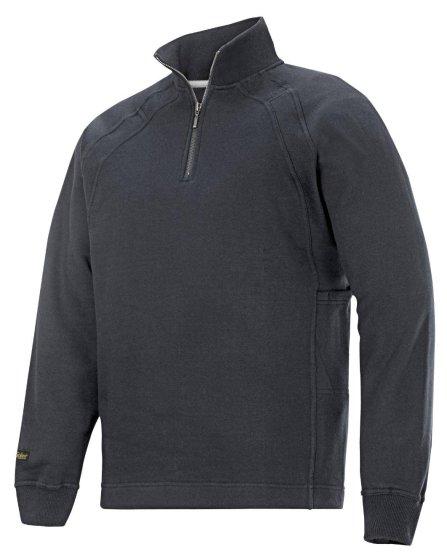 2813 Sweatshirt med kort lynlås og MultiPockets™ - Stålgrå