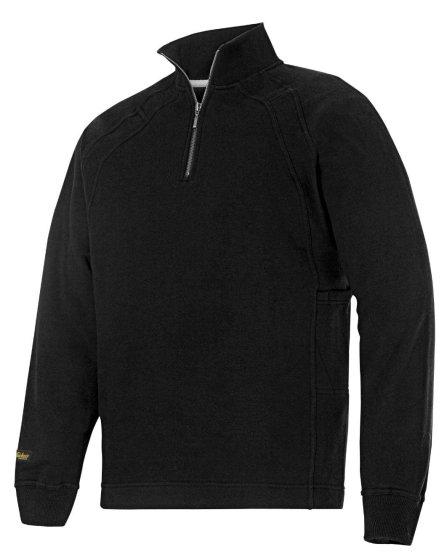2813 Sweatshirt med kort lynlås og MultiPockets™ - Sort