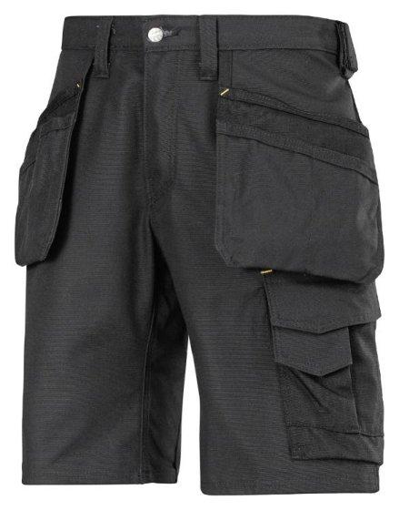3014 Håndværker shorts med hylsterlommer, Canvas+ - Sort